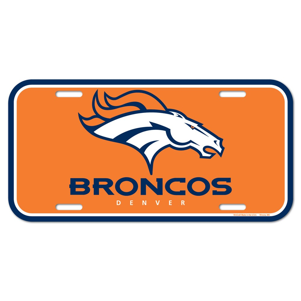 Denver Broncos Official NFL 6 inch  x 12 inch  Plastic License Plate by Wincraft