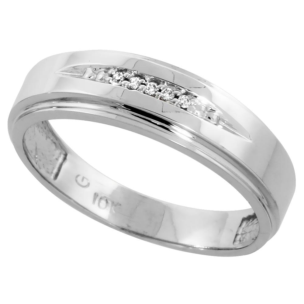 Sterling Silver Men's Diamond Band, w/ 0.03 Carat Brilliant Cut Diamonds, 1/4 in. (6mm) wide