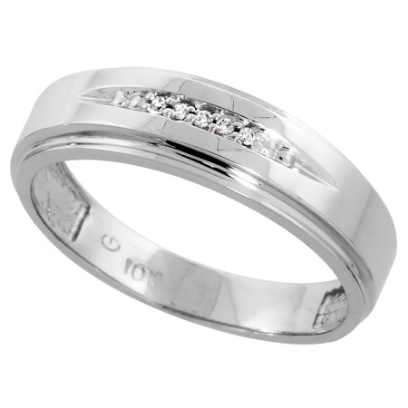 Cut Diamond Ring Band - 10k White Gold Mens Diamond Wedding Band Ring 0.03 cttw Brilliant Cut, 1/4 inch 6mm wide