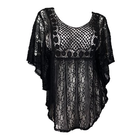 Sheer Black Lace Top - eVogues Plus Size Sheer Crochet Lace Poncho Top Black