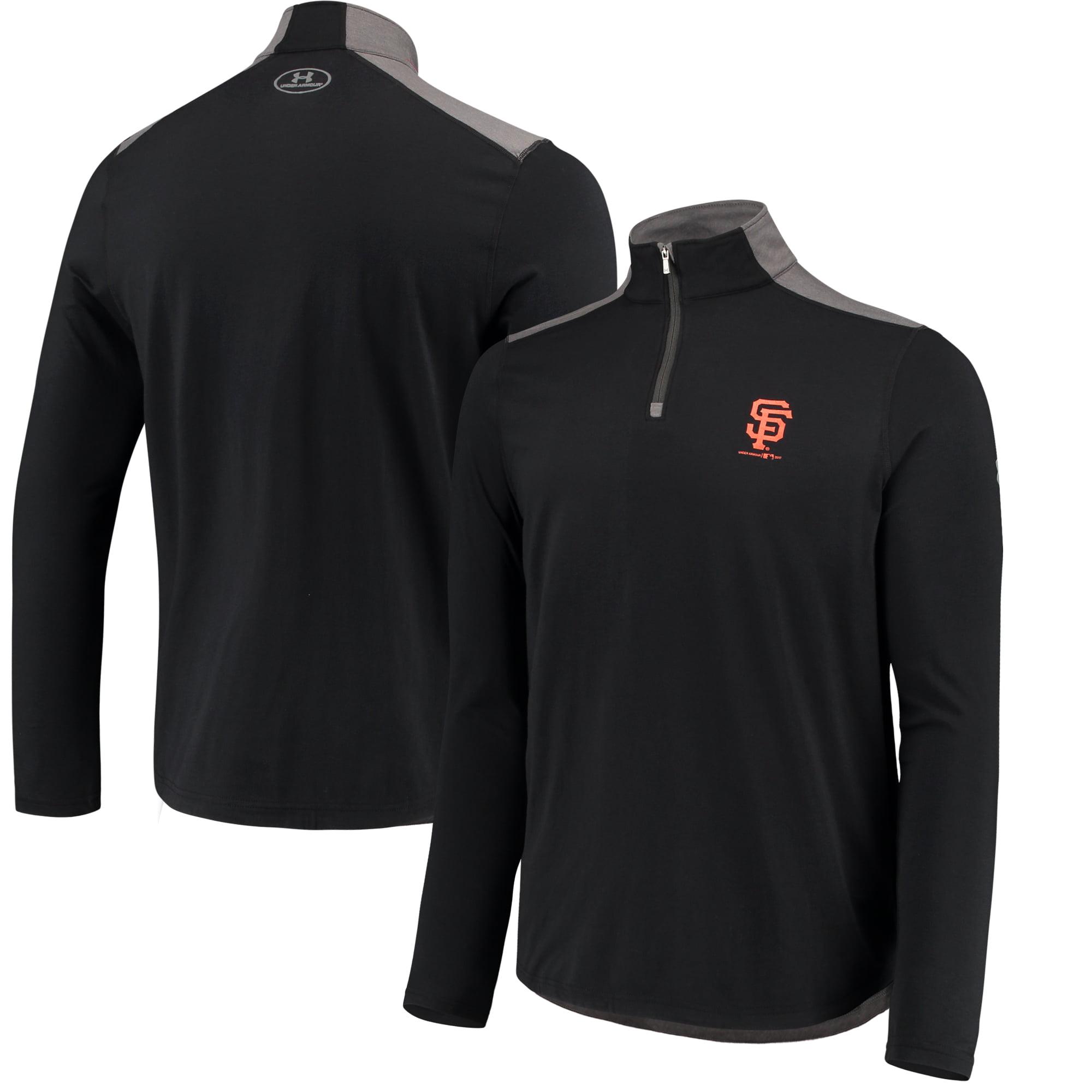 Men's Under Armour Black San Francisco Giants Charged Cotton Quarter-Zip Pullover Jacket