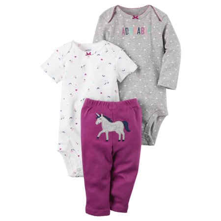 41ee1296c Carters Baby Girls 3-Piece Little Character Set Adorable Unicorn Purple