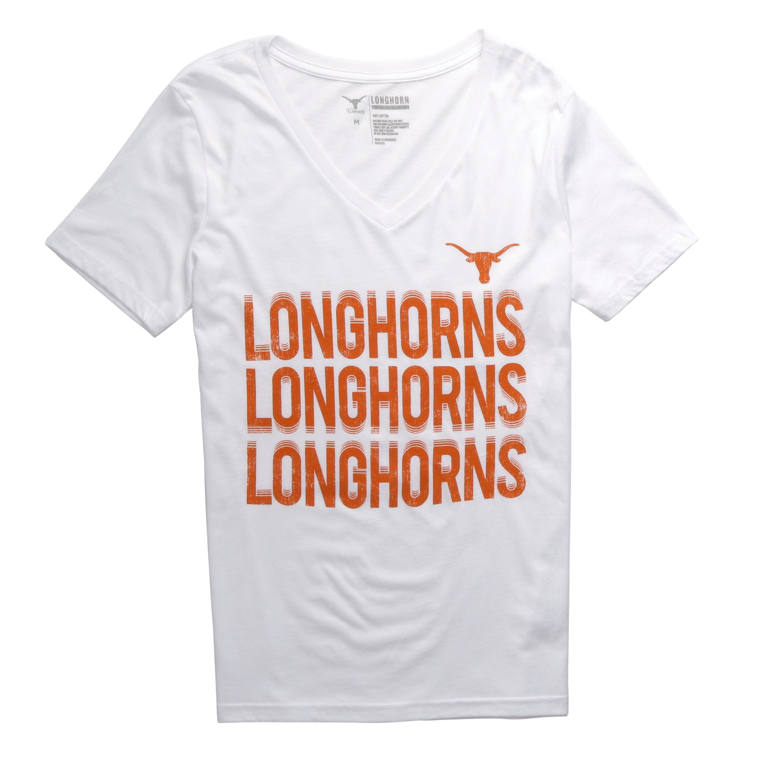 NCAA Texas Longhorns Women's Stacked Motion V Neck Short Sleeve Tee Shirt