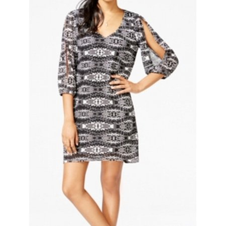 BeBop NEW Black Ivory Printed Knit Women's Size Medium M Shift Dress