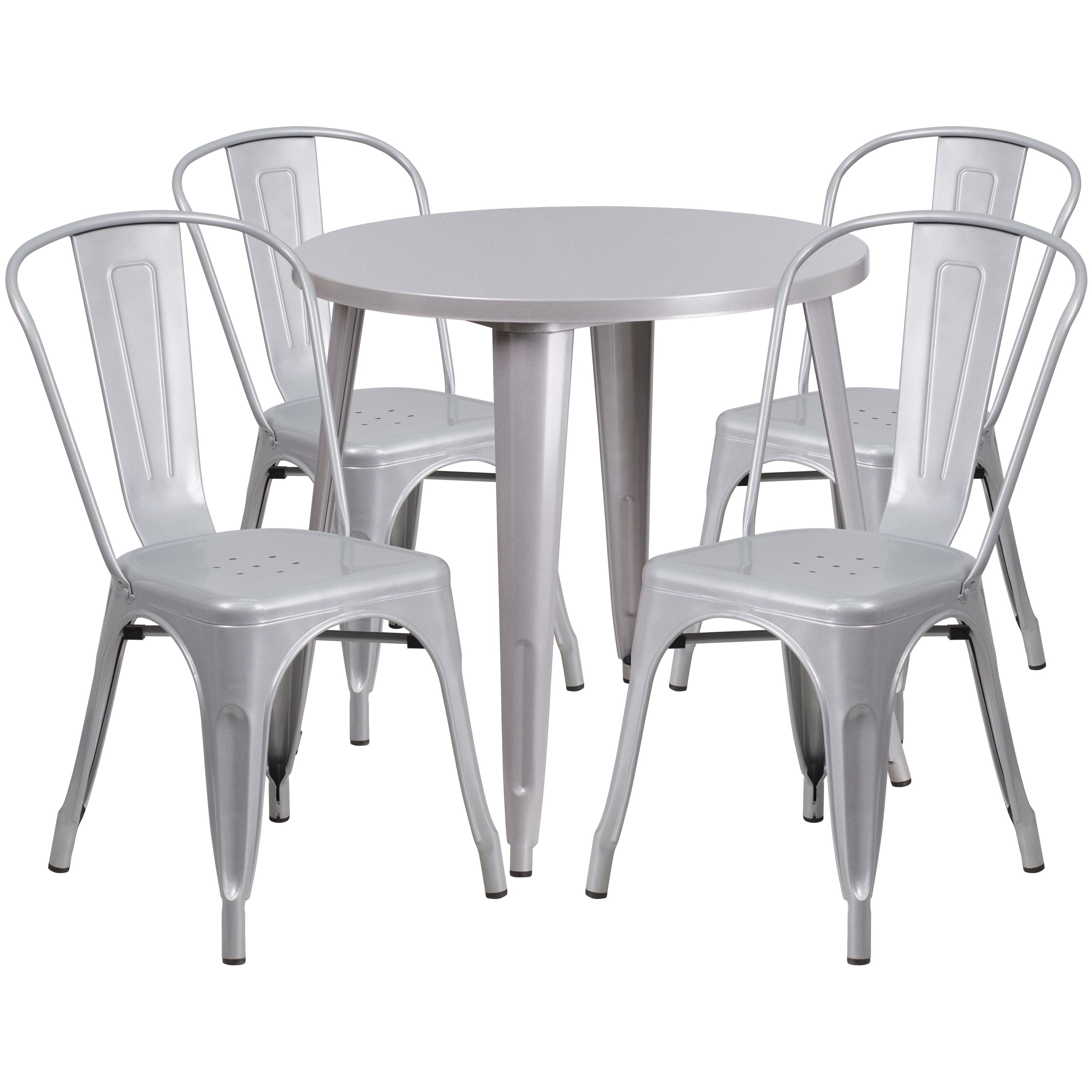 """Flash Furniture 30"""" Round Black-Antique Gold Metal Indoor-Outdoor Table Set with 4 Cafe Chairs"""