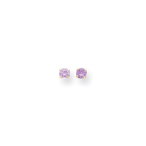14k Yellow Gold Children's 3mm Synthetic Amethyst Birthstone Post Stud Earrings