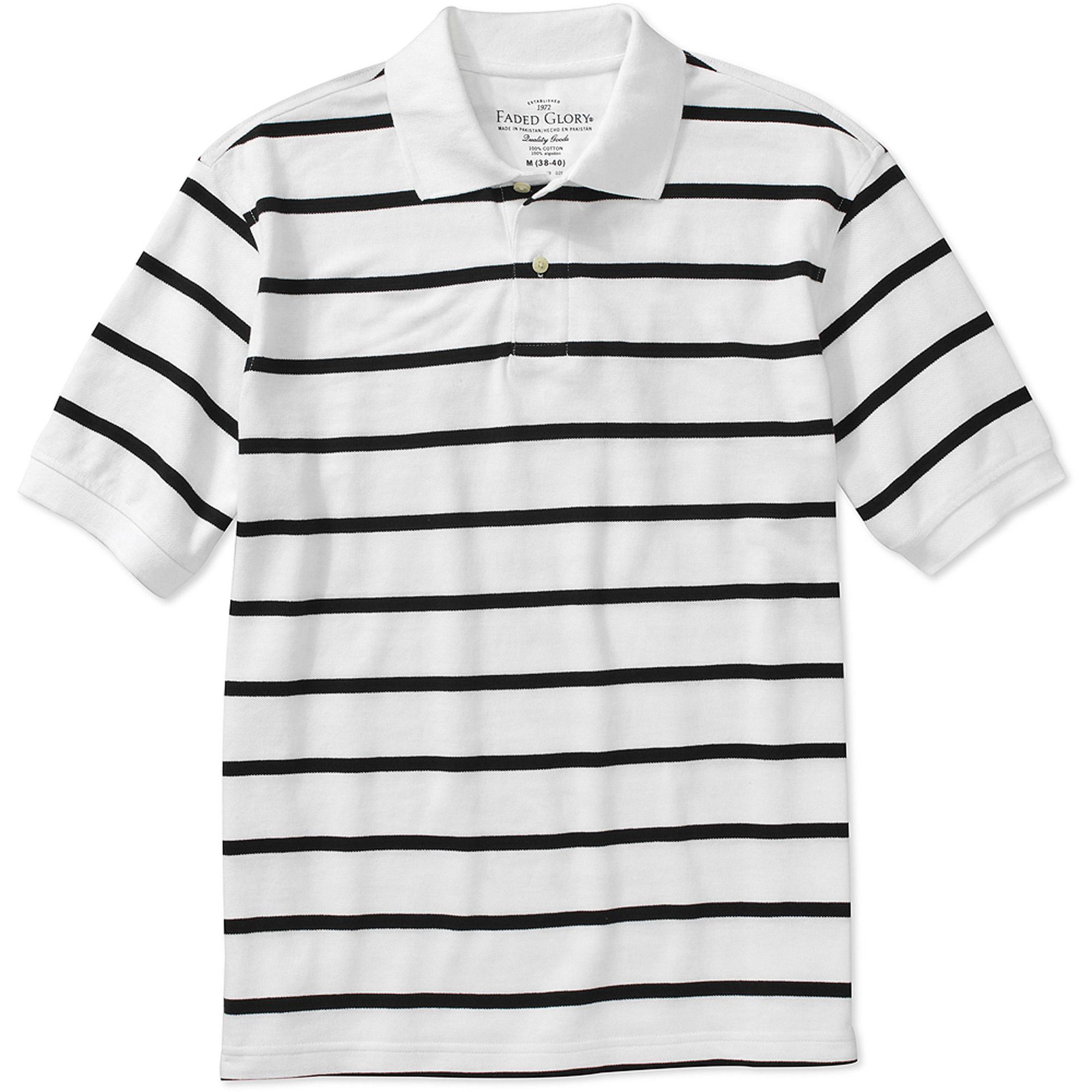 Faded Glory Big Men's Short Sleeve Stripe Polo