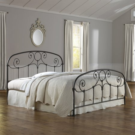 (Grafton Complete Bed with Metal Scrollwork Panels, Rusty Gold Finish, Multiple Sizes)