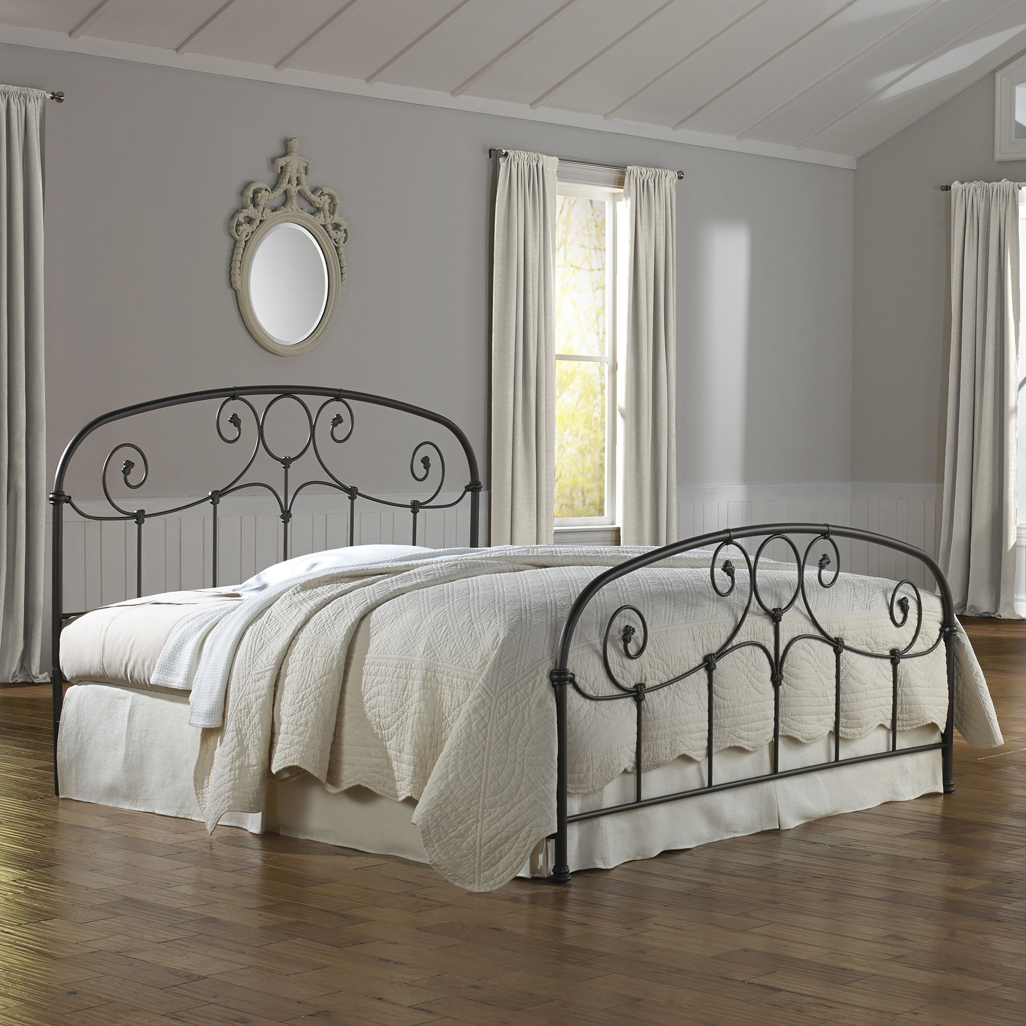 Grafton Complete Bed with Metal Scrollwork Panels, Rusty Gold Finish, Multiple sizes available