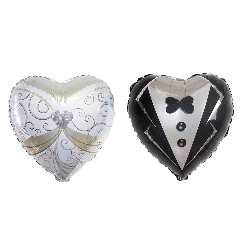 "Efavormart 14"" Heart Shape Wedding Groom Tuxedo and Bride Dress Air Helium Mylar Foil Balloons Set"
