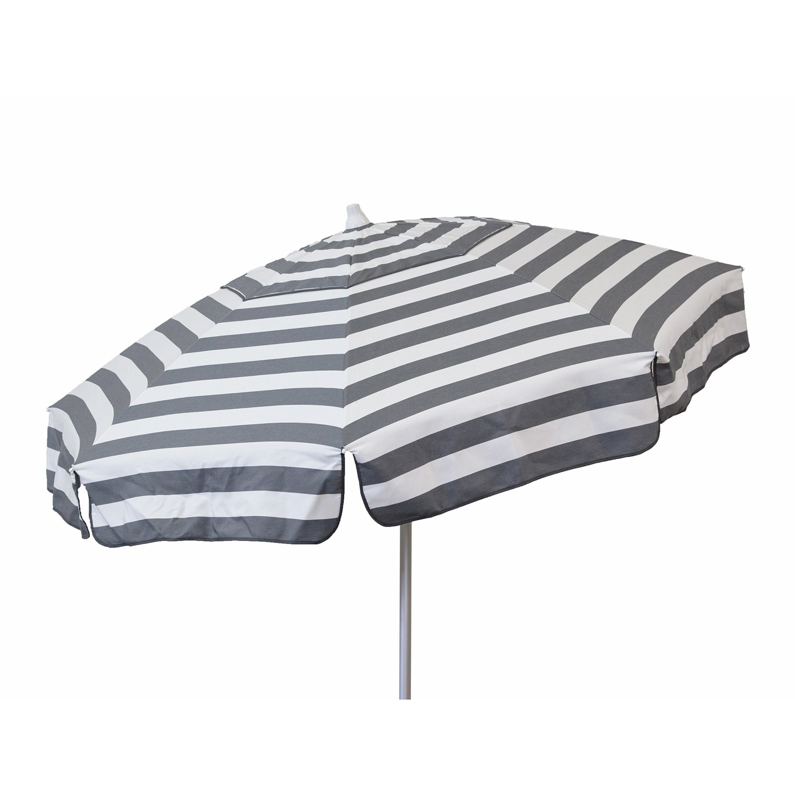DestinationGear Italian 6' Umbrella Acrylic Stripes Steel Grey and White Beach Pole