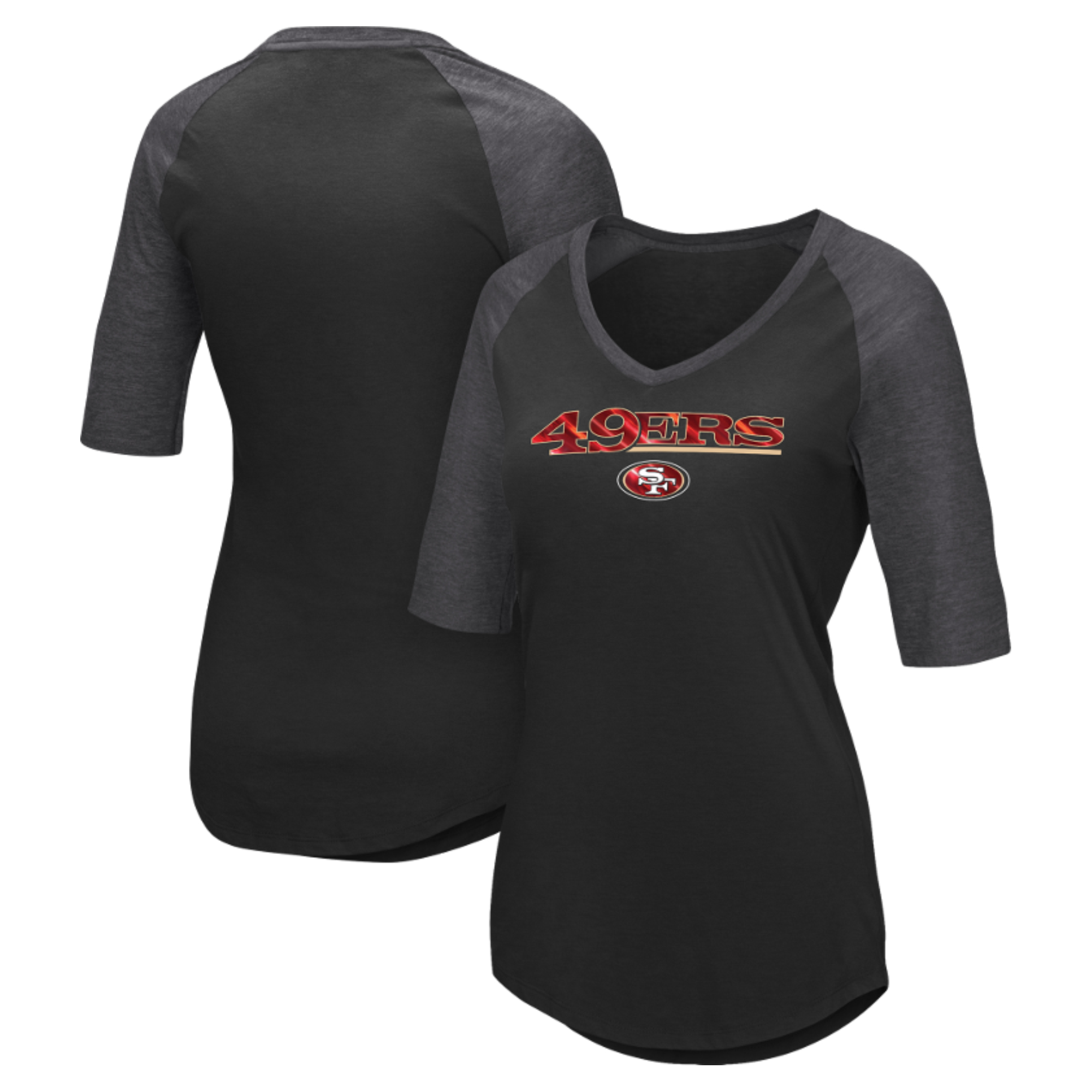 San Francisco 49ers Majestic Women's Gameday Glam Raglan Half-Sleeve T-Shirt - Black
