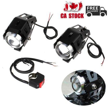 2x Motorcycle bike LED Headlight Driving Fog Spot Lights Switch U5 125W 3000LM - image 7 of 7