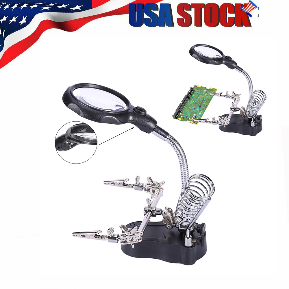 3.5x 12x Helping Hand Clip LED Magnifying Soldering Iron Stand Lens Magnifier
