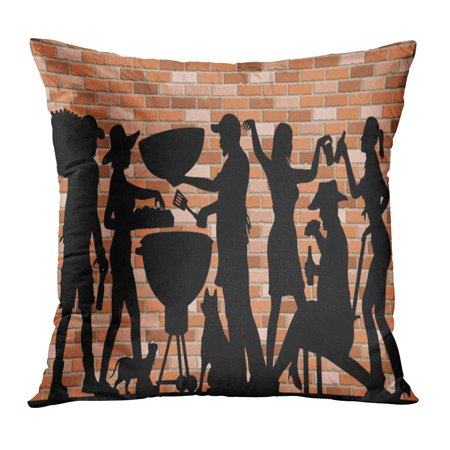 ECCOT Memorial Day BBQ Party Silhouette in Front of Brick Wall The is Different Layer and Use Without Images PillowCase Pillow Cover 16x16