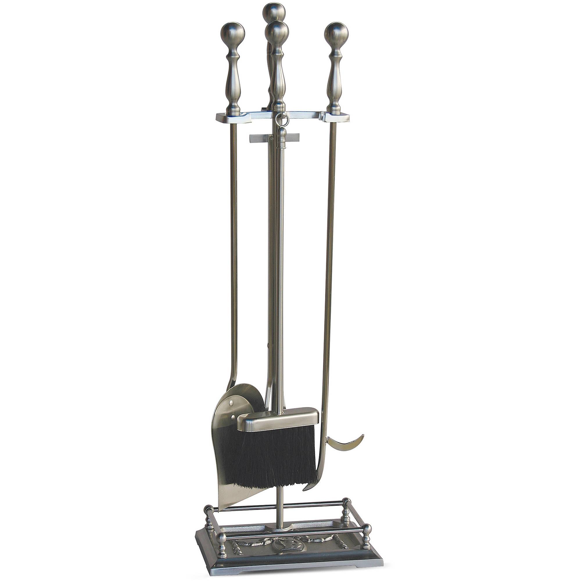 Walmart Fireplace Accessories Part - 25: UniFlame 5-Piece Fireplace Tool Set, Satin Pewter - Walmart.com