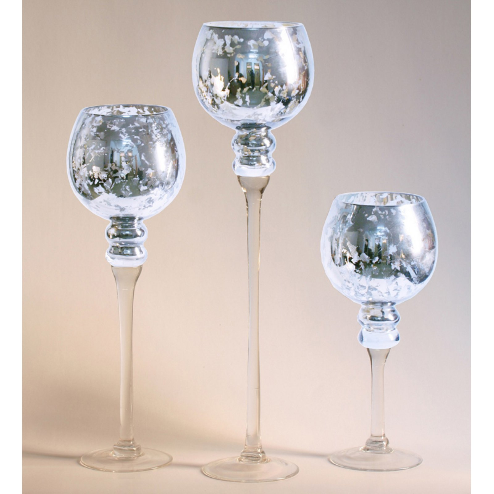 Privilege International Mercury Glass Stem Vase - Set of 3