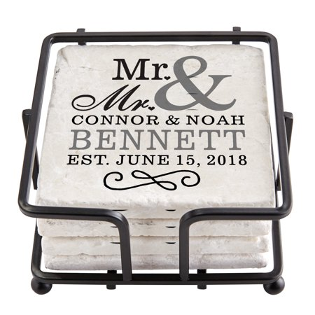 Personalized Happy Couple Tile Coaster Set with Holder - Mr. & Mr. - Personalized Photo Coasters