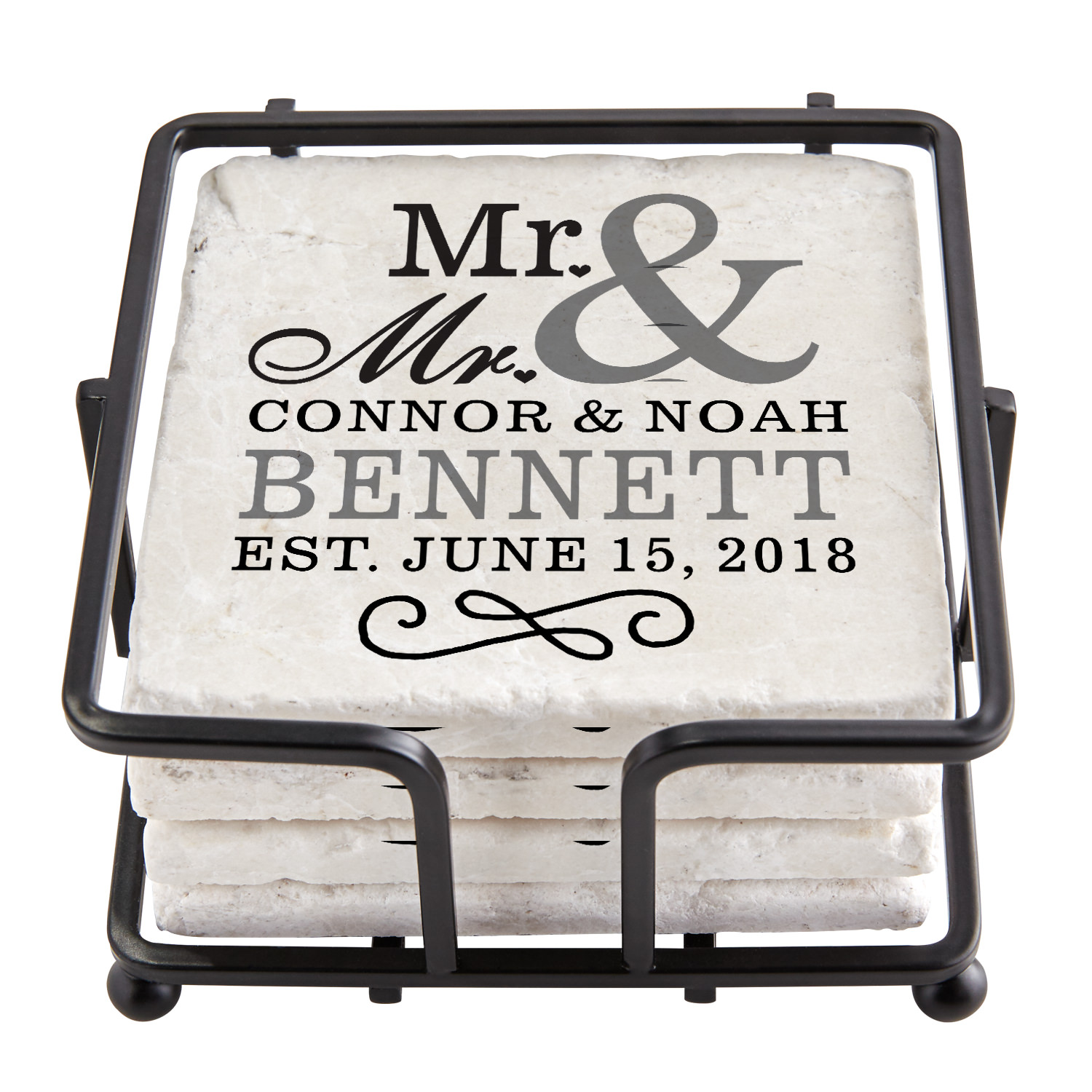 Personalized Happy Couple Tile Coaster Set with Holder - Mr. & Mr.