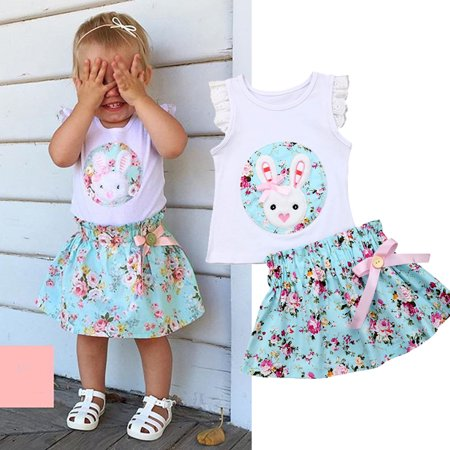 XIAXAIXU Toddler Baby Girls Kids Easter Floral Ruffle Sleevless Tops + Tutu Skirt 2Pcs Outfit Clothes Set](Easter Chick Baby Outfit)