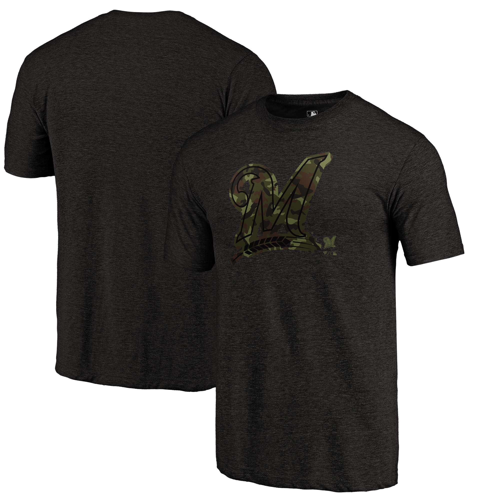 Milwaukee Brewers Fanatics Branded 2018 Memorial Day Camo Prestige Tri-Blend T-Shirt - Black