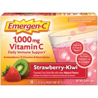 Emergen-C 1000mg Vitamin C Powder, with Antioxidants, B Vitamins and Electrolytes for Immune Support, Caffeine Free Vitamin C Supplement Drink Mix, Strawberry Kiwi Flavor - 30 Count/1 Month Supply