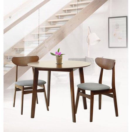 SK New Interiors Dining Kitchen Round Table and 2 Yumiko Side Chairs (Set of 3) Solid Wood Medium Brown Finish