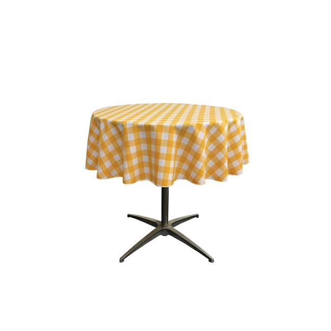 LA Linen TCcheck58R-DrkYellowK47 Polyester Gingham Checkered Tablecloth, White & Dark yellow - 58 in. Round - image 1 of 1