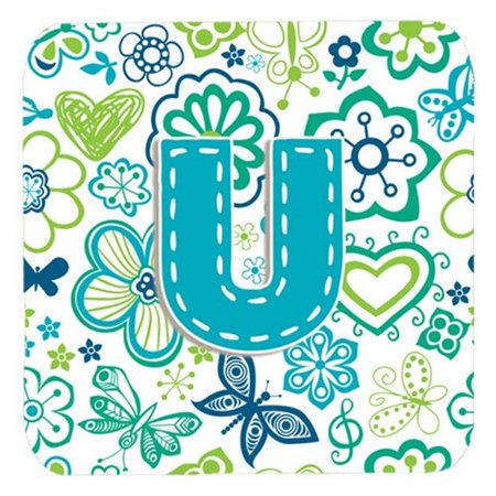 Carolines Treasures CJ2005-UFC Letter U Flowers And Butterflies Pink Foam Coasters, Set Of 4 - image 1 de 1