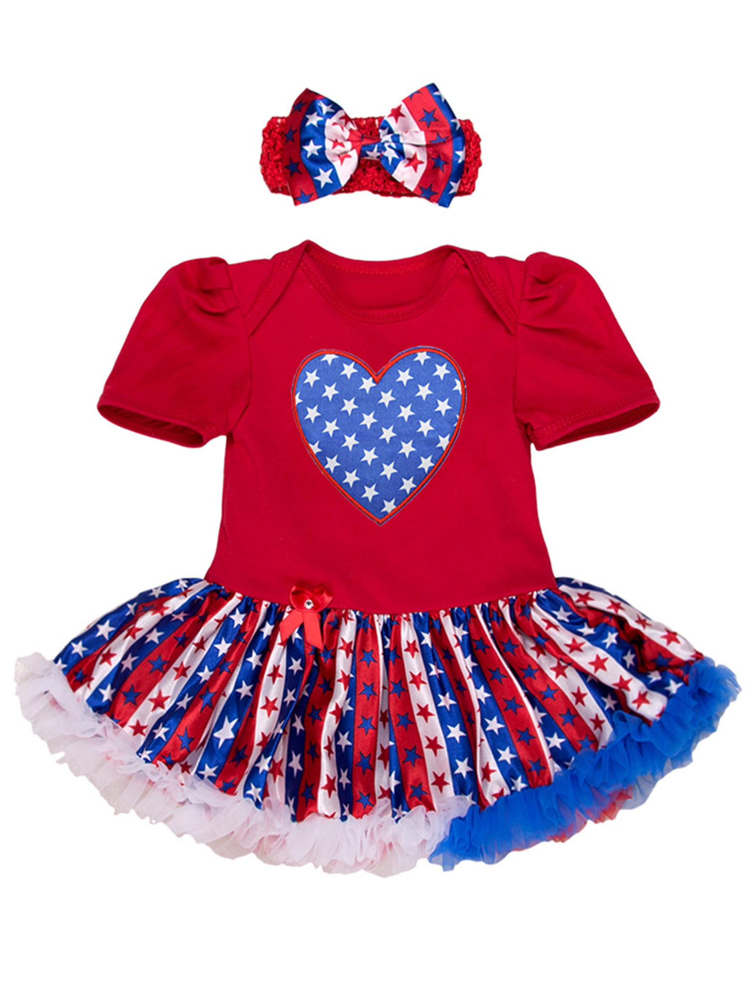Flag Day Baby Jumpsuit 4th of July Clothes,Toddler Infant Girls Ruffled Hair Band Romper Outfits Set 6-24 Months