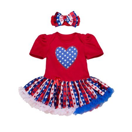 StylesILove Infant Toddler Baby Girl 4th of July American Flag Holiday Short Sleeve Romper Tutu Dress and Headband 2 pcs Set - 50s Day Outfit Ideas