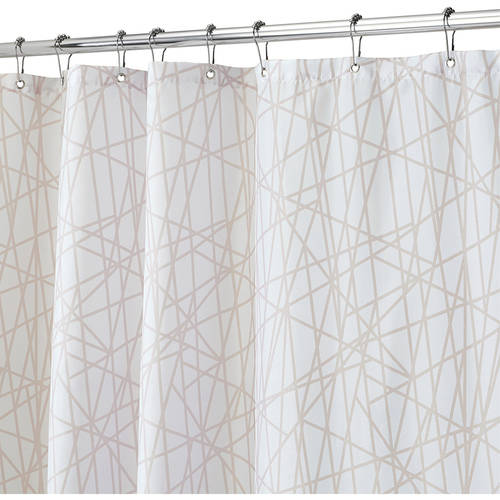 "InterDesign Abstract Fabric Shower Curtain, Standard 72"" x 72"", Black/White"