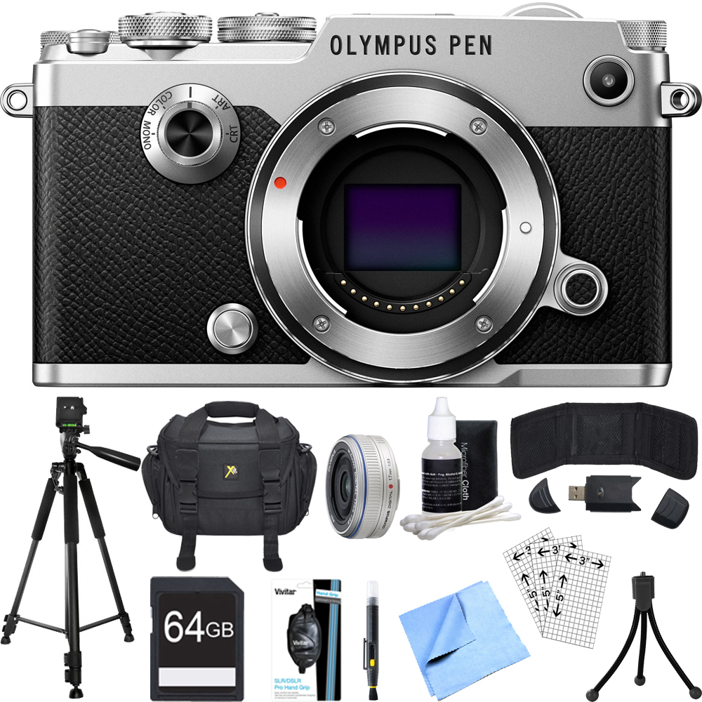 Olympus PEN-F 20MP Mirrorless Micro Four Thirds Digital Camera w/ 17mm Lens Bundle includes Camera, Lens, 64GB SDXC Memory Card, Case, Tripod, Wrist Strap, Cleaning Kit, Beach Camera Cloth and More