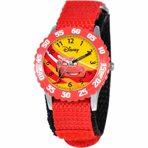 Disney Cars Lightning McQueen Boys' Stainless Steel Watch, Red Strap