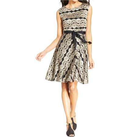 SLNY Womens Lace Boatneck Cocktail Dress