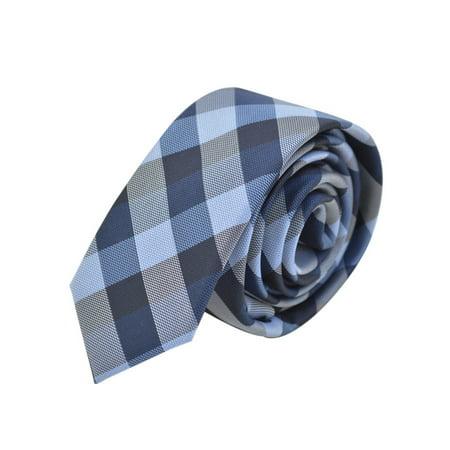 "Premium Checker Plaid 2"" Skinny Necktie Neck Tie"