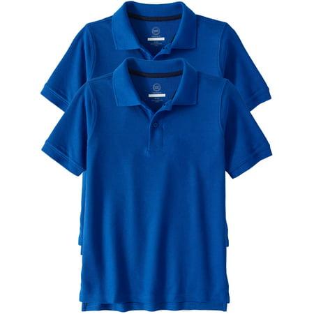 Wonder Nation Boys School Uniform Short Sleeve Double Pique Polo, 2-Pack Value Bundle (Little Boys & Big Boys)