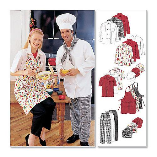 Misses' and Men's Jacket, Shirt, Apron, Pull - On Pants, Necke - LARGE Pattern