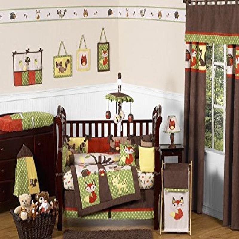 Sweet Jojo Designs Woodland Forest Animals Owl Deer Tree Baby Boy Nature Bedding 9pc Crib Set