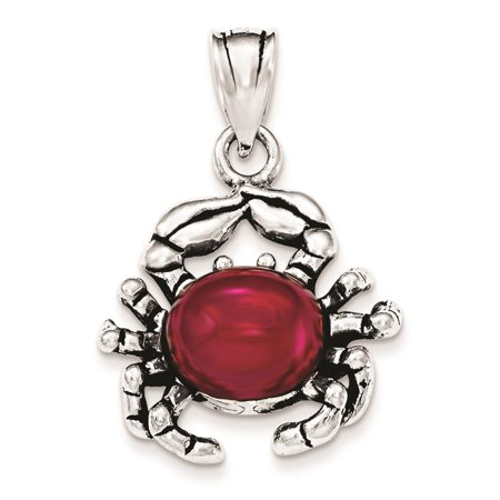 925 Sterling Silver Antiqued w/ Red Stone Crab Polished Glass Charm Pendant