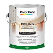 ColorPlace Flat Interior Bright White Ceiling Paint, 1-Gal
