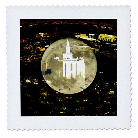 Temple Blend - 3dRose The St. George LDS Temple blended into the moon - Quilt Square, 20 by 20-inch