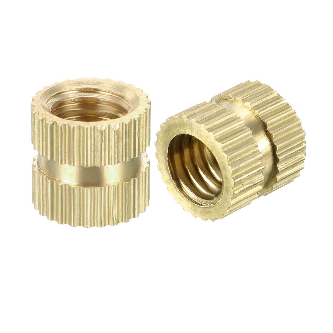M6 x 8mm(L) x 8.5mm(OD) Brass Knurled Threaded Insert Embedment Nuts, 100 Pcs - image 3 de 3