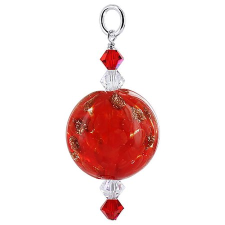 Gem Avenue Sterling Silver Red Lampwork Glass Bead Charm Pendant with Swarovski Elements Crystal Lampwork Glass Leaf Beads Pendant