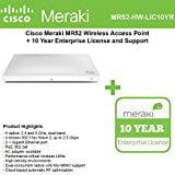 Cisco Meraki MR52 Wireless Access Point with 10 Year Enterprise License
