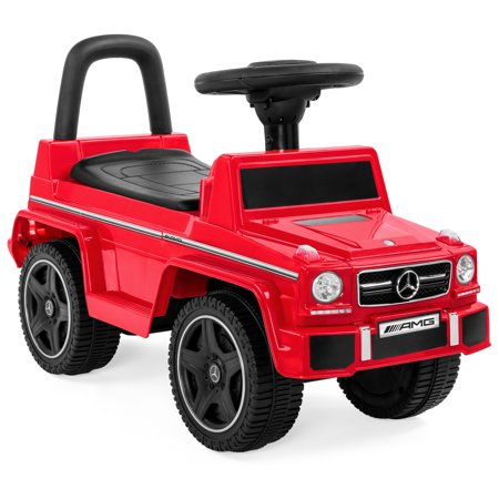 Best Choice Products Kids Toddler Luxury Mercedes G63 Convertible Cruiser Foot-to-Floor Ride-On Push Car Toy Buggy for Indoor/Outdoor Play w/ Steering Wheel, Push Handle, Honking Horn - Red