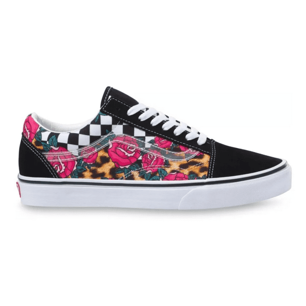 Vans Old Skool Rose/Animal Check Men's Classic Skate Shoes 12
