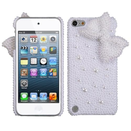 Insten White Bow Pearl 3D Diamante Back (with Package) Case For iPod Touch 6 6th 5 5th Gen