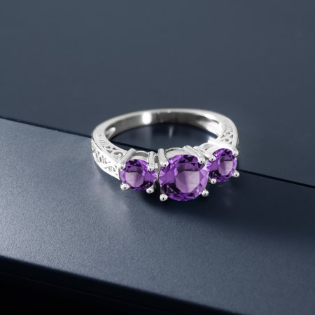 2.00 Ct Round Purple Amethyst 925 Sterling Silver Ring - image 1 of 4