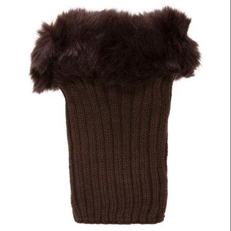 Womens Winter Leg Warmers w/ - Brown Furry Leg Warmers